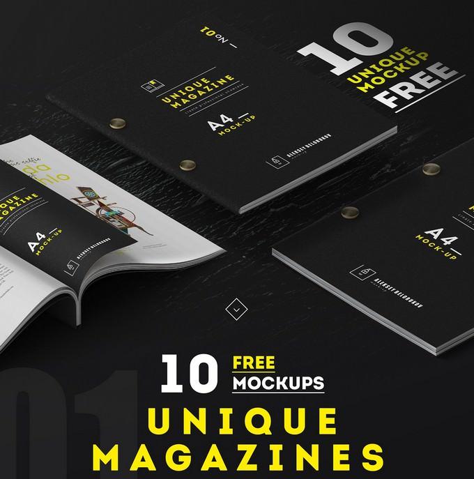 10 Free Unique Magazine Mockups