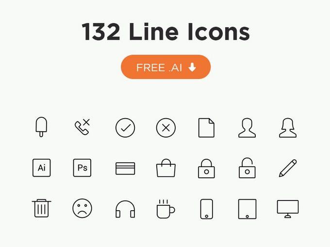 132 Line Icons AI