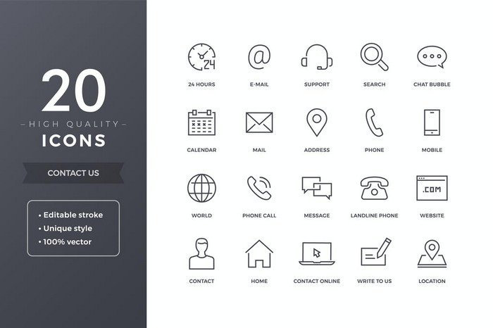20 High Quality Contact Icons