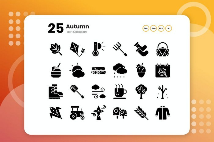 25 Autumn Glyph Icon