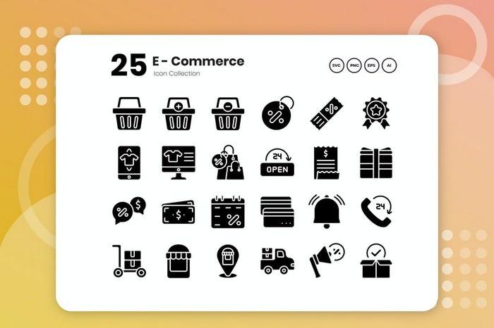 25 E-Commerce Glyph Icon