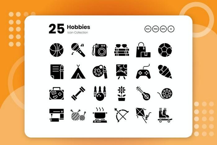 25 Hobbies Glyph Icon