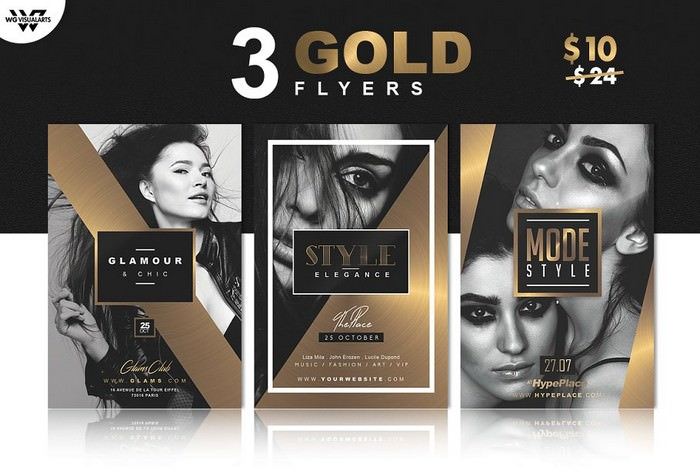 3 Gold Elegant Flyer Templates