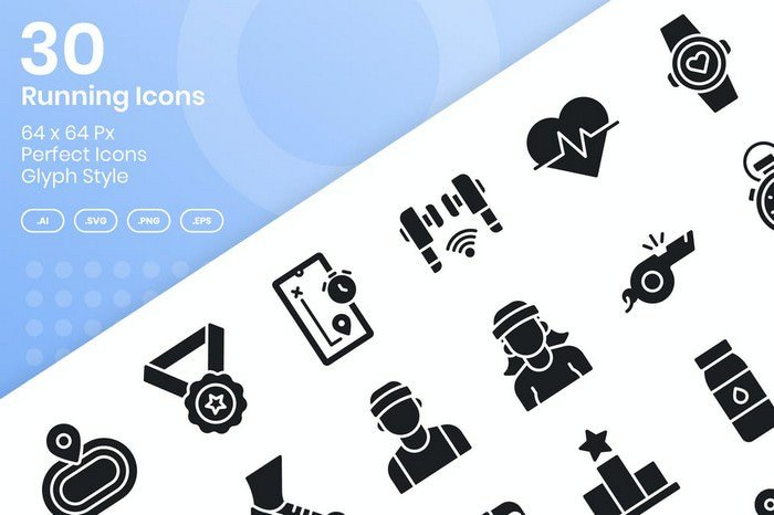 30 Running Icons Set - Glyph