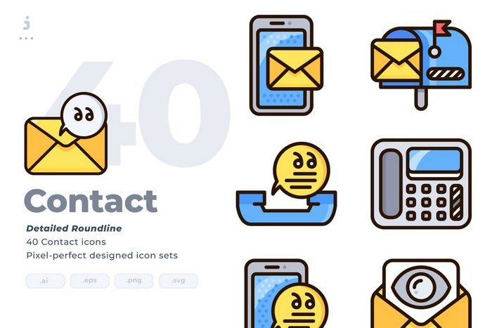 40 Contact Icon set - Detailed Round line