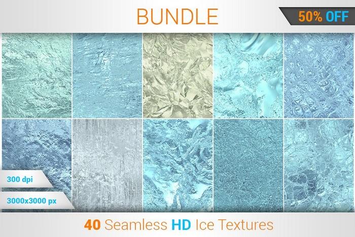 40 Ice Seamless HD Textures Bundle