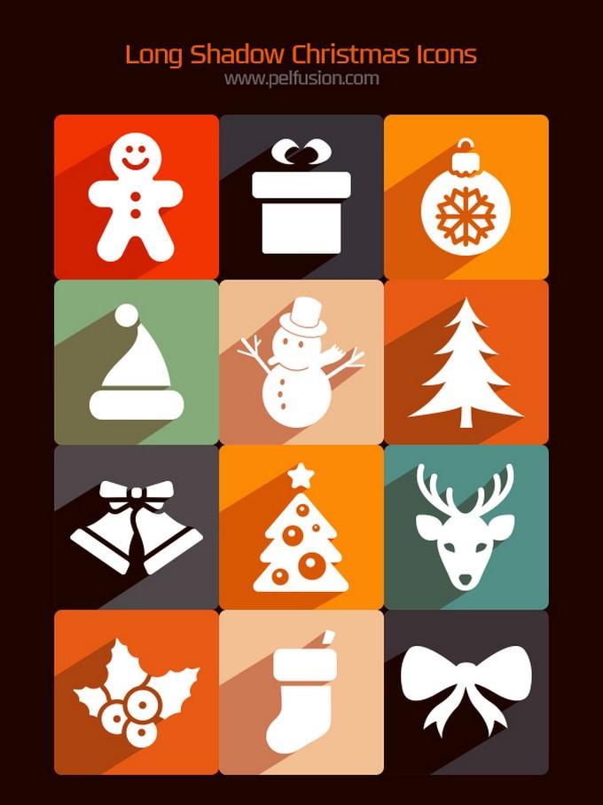 New Free Long Shadow Christmas Icons