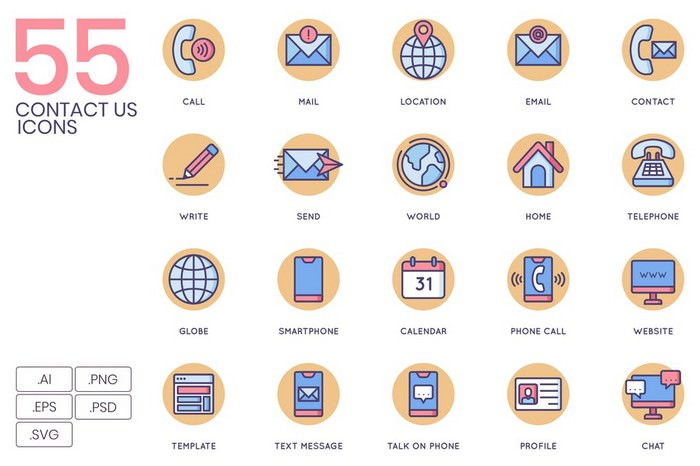 55 Contact Us Icons Butterscotch
