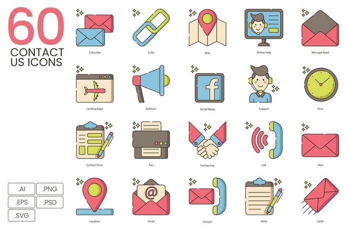 60 Contact Us Icons Hazel Series