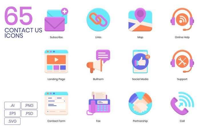 65 Contact Us Icons Violet Series
