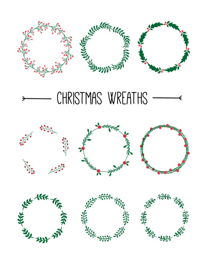 9 Vector Christmas Wreaths