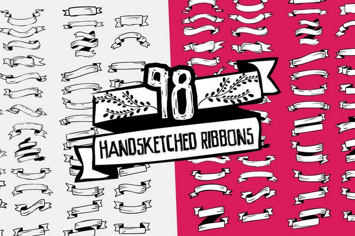 98 Handsketched Vector Ribbons