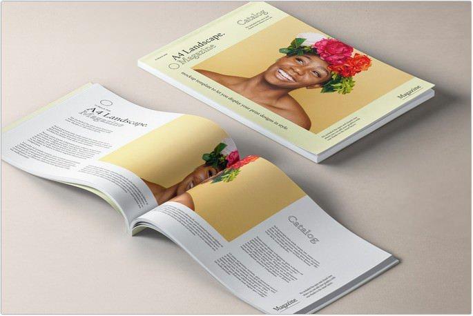 A4 Landscape Magazine Mockup v2