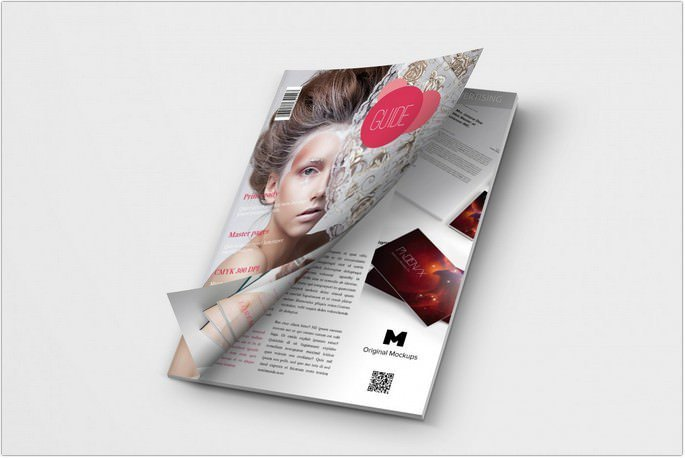 A4 Magazine Mockup Cover Opening