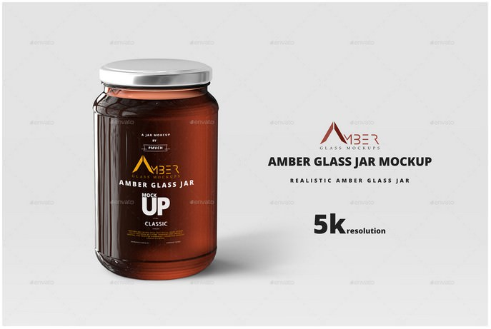 Amber Glass Jar Mockup