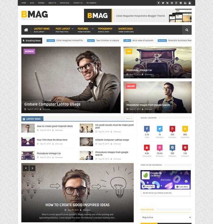 BMAG – Magazine Responsive Blogger Template