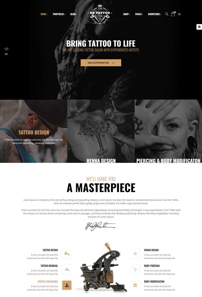 Barber - Tattoo WordPress Theme