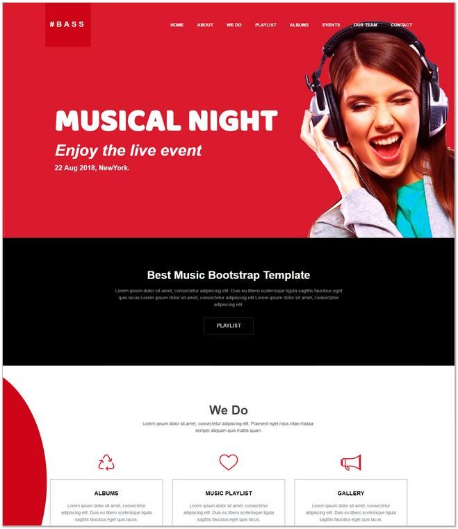 Bass Responsive Music Website Template Free