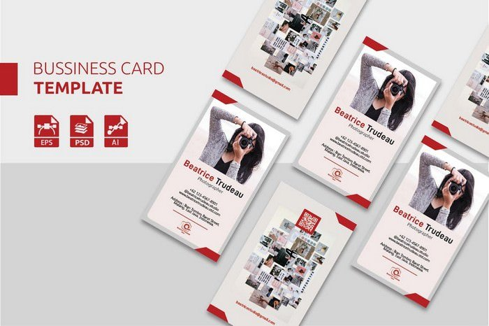 Beatrice Vertical Photography PSD Business Card