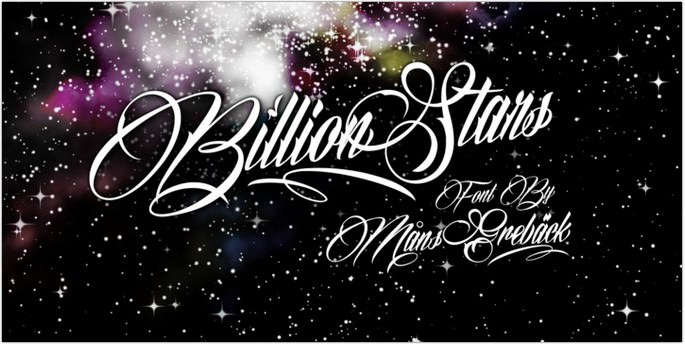 Cursive Billion Stars Font