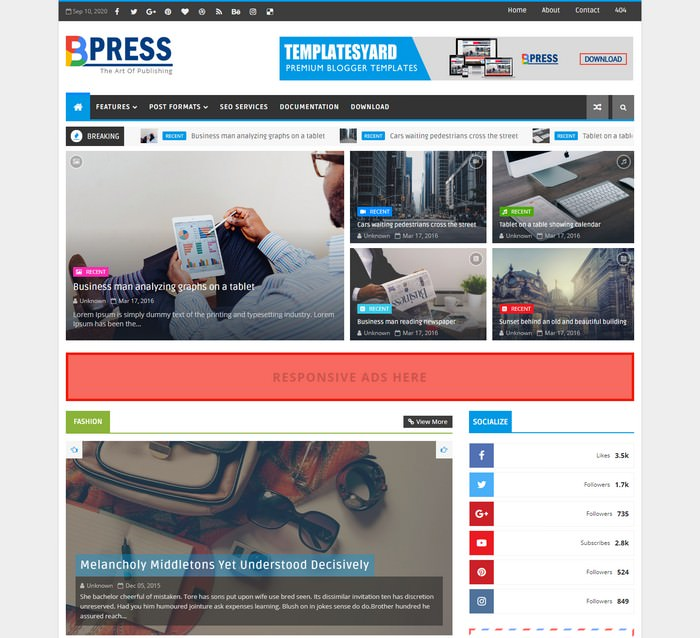 Bpress News Magazine Blogger Template