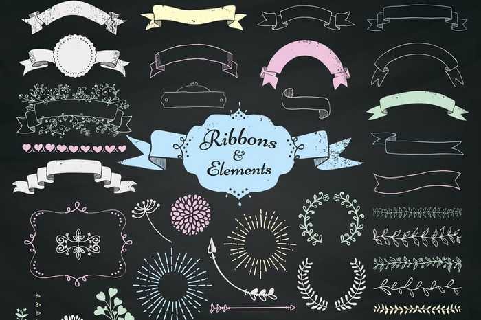 Chalk Drawing Ribbons