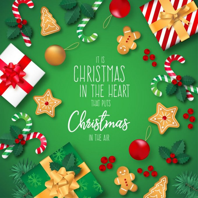 Christmas Background With Presents And Quote