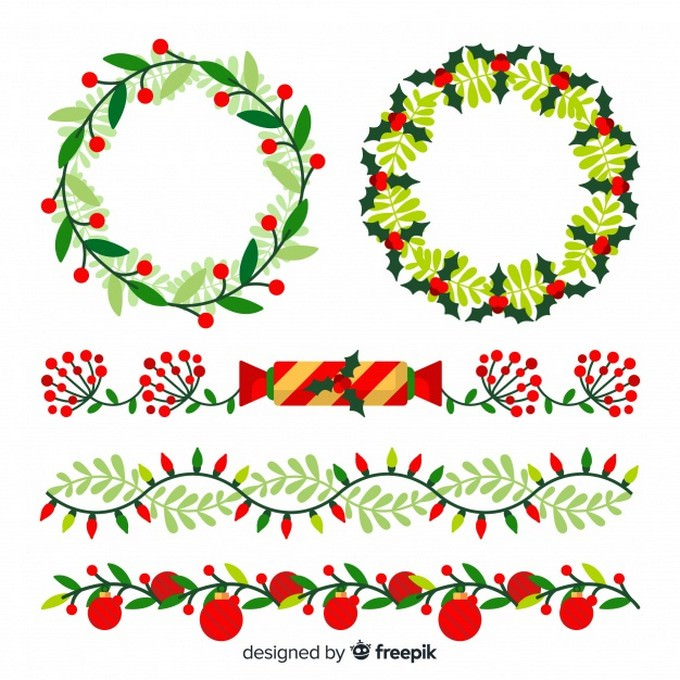 Christmas flat Borders and Wreaths Free Vector