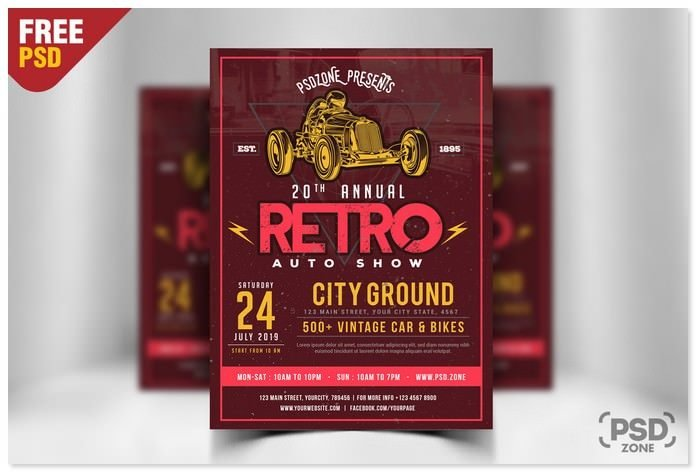 Classic Car Event Flyer Free PSD