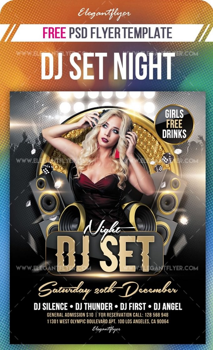 DJ Set Night Free Flyer PSD Template