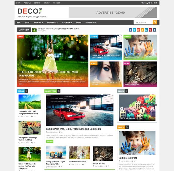 Deco Mag – Responsive Magazine Blogger Template