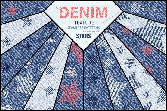Denim Stars Texture Seamless Pattern