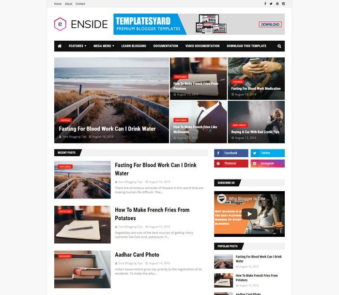 Enside News Magazine Blogger Template