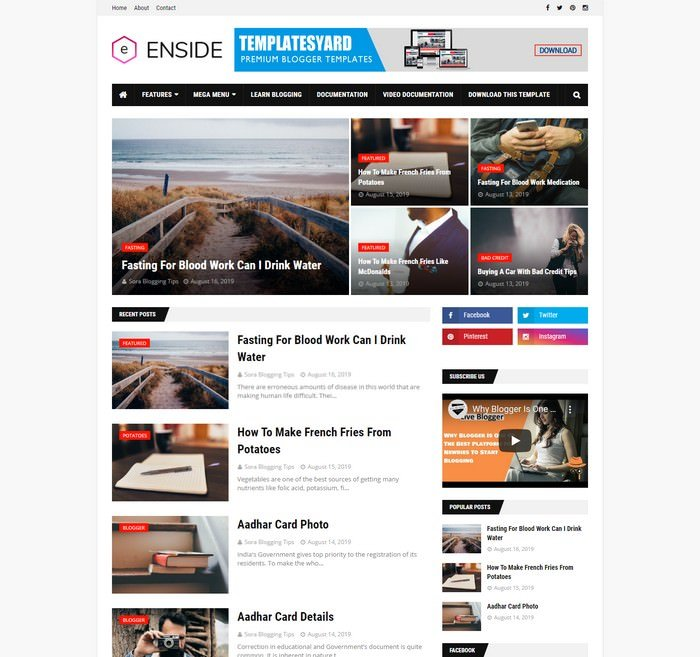Enside News Magazine Blogger Template