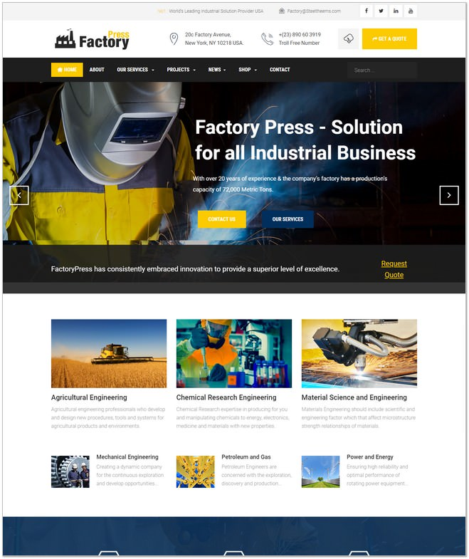 Factory Press - Industrial Business Joomla Template