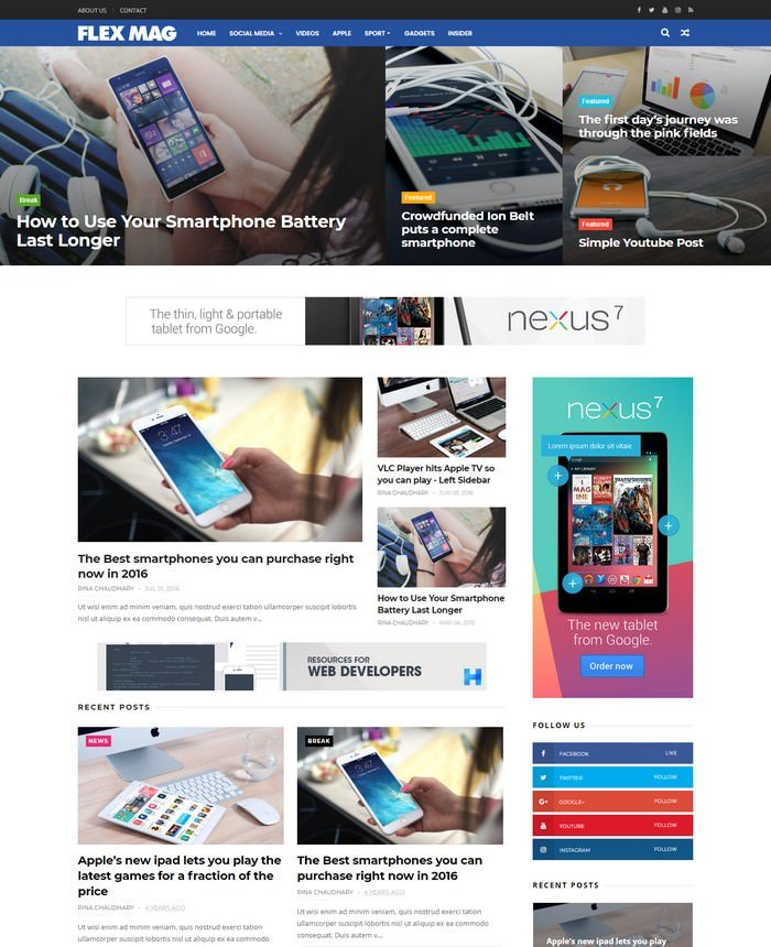 FlexMag Responsive Blog Magazine Blogger Template