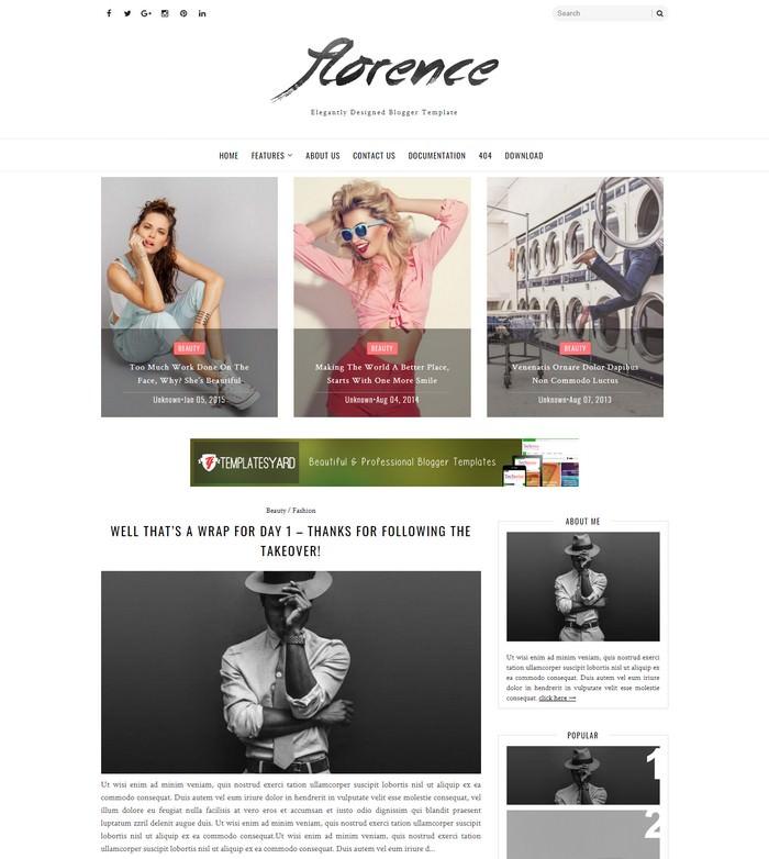 Florence Minimal & Elegant Blogger Template