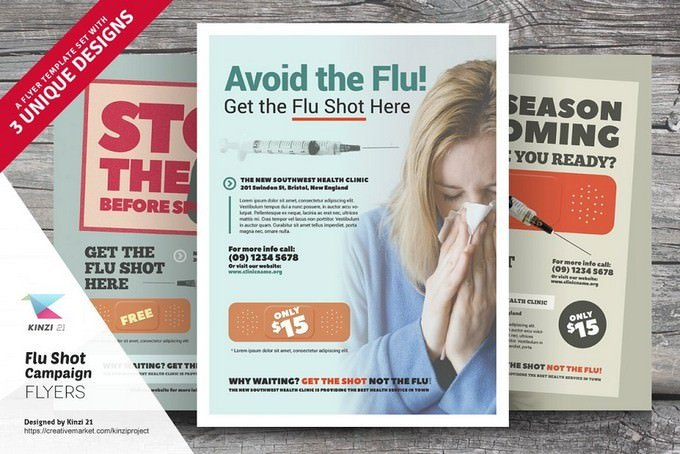 Flu Shot Campaign Flyer Templates