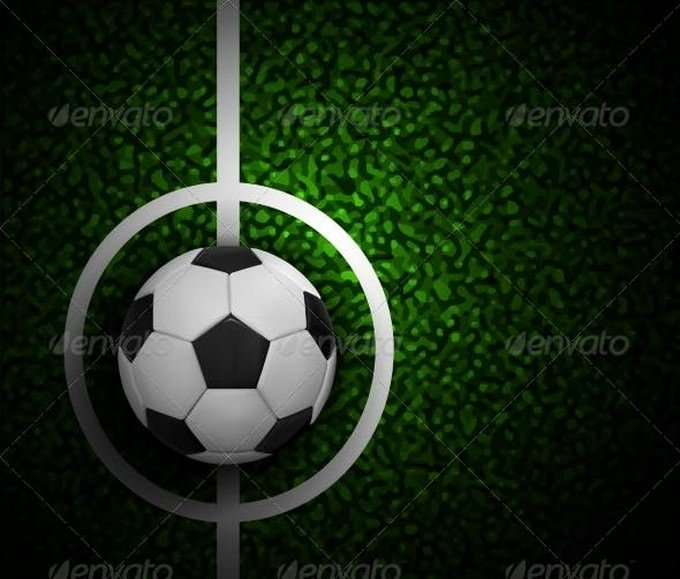 Football Field with Ball and a Grass Texture