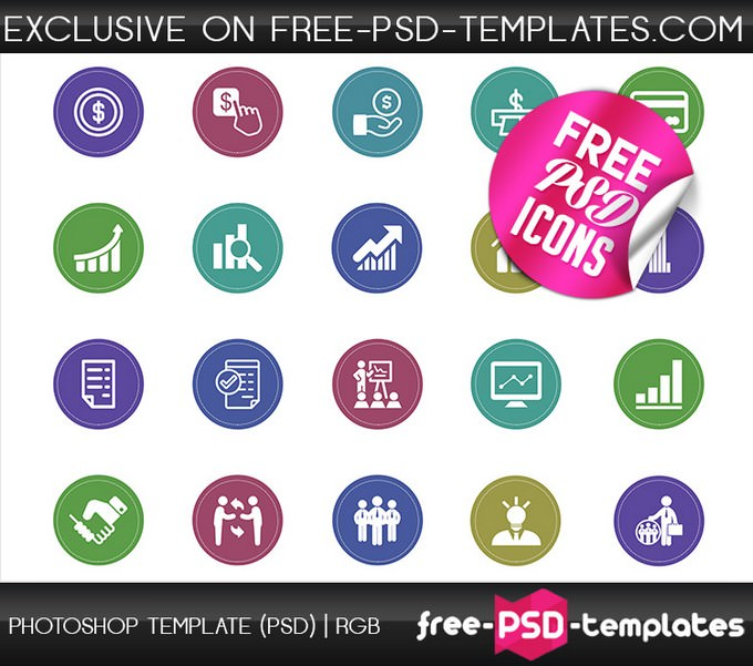 Free PSD Flat Design Business Icons Set