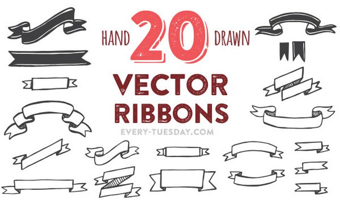 Freebie Hand Drawn Vector Ribbons