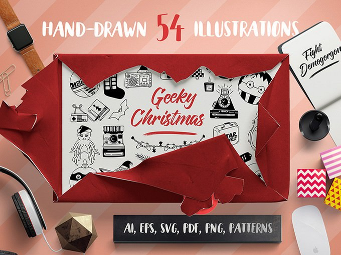 Geeky Christmas Vector Set + Patterns