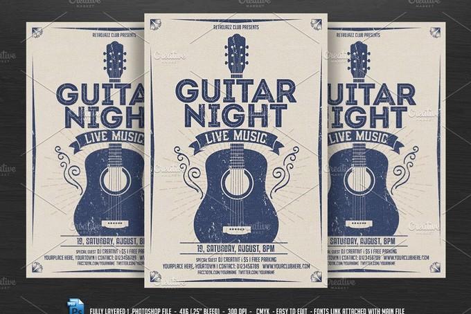 Guitar Music Flyer template