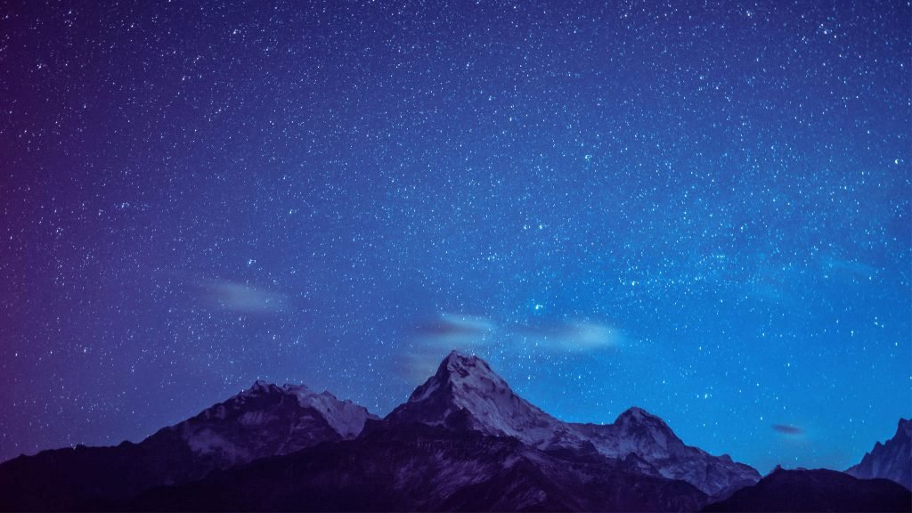 HD Galaxy Stars Mountain Wallpapers 2048 × 1152