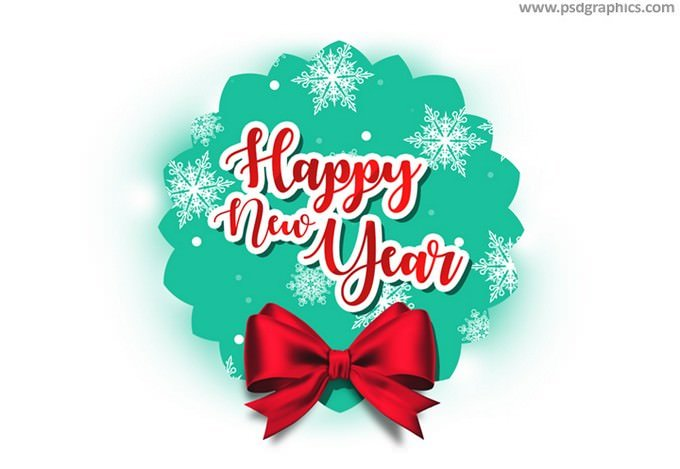 Happy New Year tag PSD template
