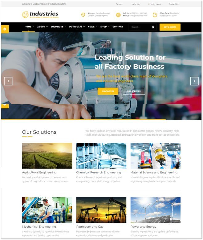 Industries - Business Joomla Template