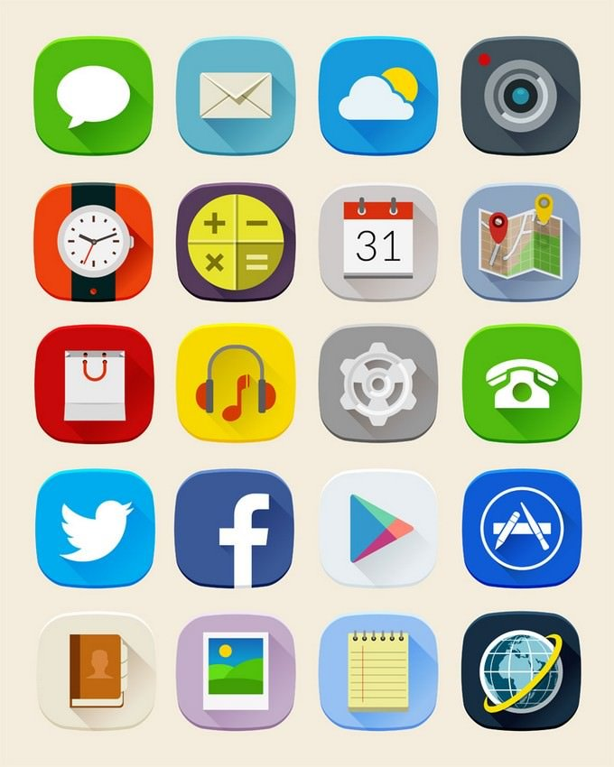 Long Shadow Mobile Icons