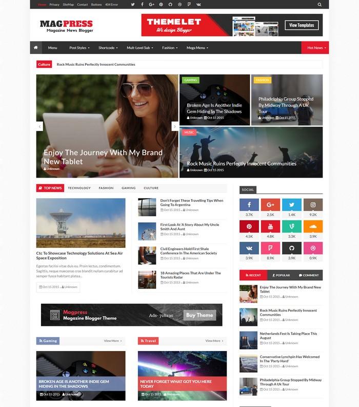 Magpress – Magazine Responsive Blogger Template