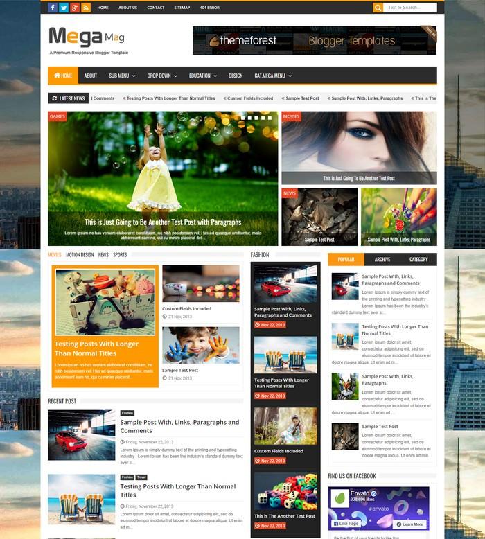 Mega Mag – Responsive Magazine Blogger Template