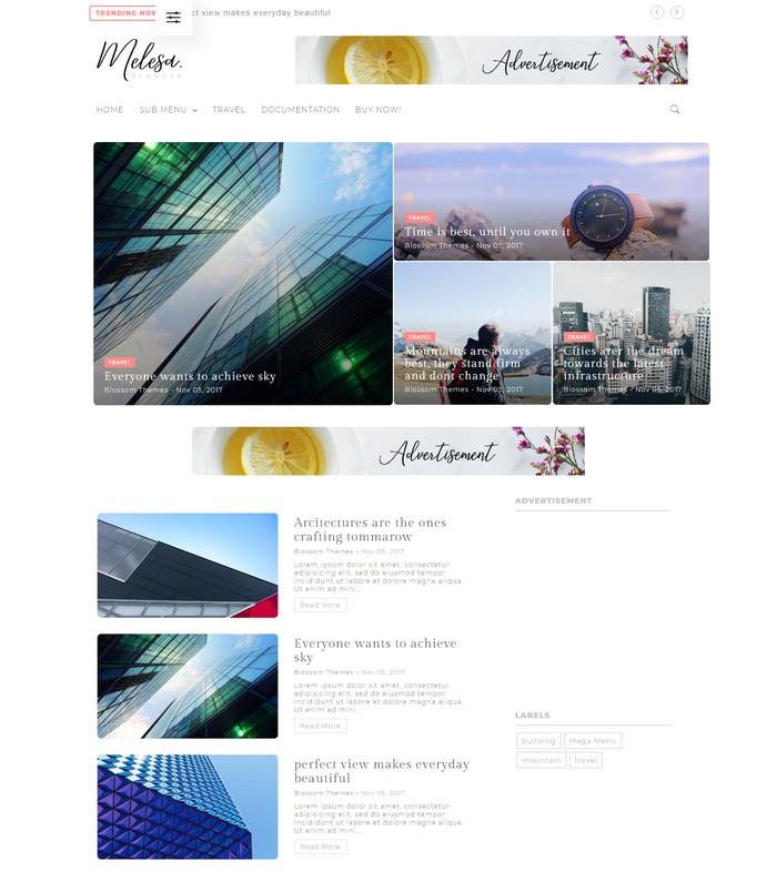 Melesa Blogger Theme - Blossom Theme